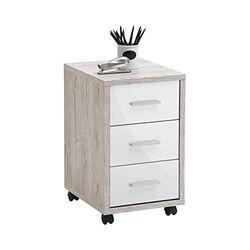 FMD furniture Rollcontainer, Spanplatte, Sandeiche/Hochglanz-Weiß, ca. 35 x 53,6 x 42 cm