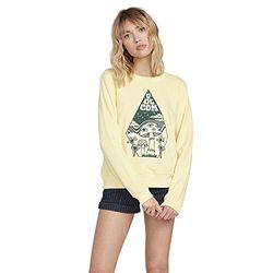 Volcom Sound Check Fleece Sweatshirt, Damen XL gelb verblasst