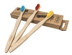 Set met 3 tandenborstels van bamboe.