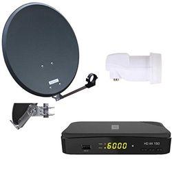Opticum Digitale 1 HD AX 150 HDTV-ontvanger deelnemer satelliet complete installatie (single-LNB, QA 60 cm antenne, staal) antraciet