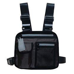 Klykon Brusttasche für Herren, Brusttasche, modisch, reflektierend, leichte Taschen für Männer und Frauen, Nachtlaufen, Wandern, Joggen, Walking, grau