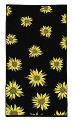 Fleuresse Terry 2932 Fb. 1 handdoek met bloemen, 70 x 140 cm, zwart / geel