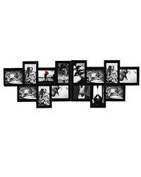 Rebecca Mobili Marco pared múltiple para 14 fotos de madera, negro, diseño moderno, para sala de estar, ideas regalos - Medidas: 36 x 120 x 1,2 cm ( AxANxF) - Art. RE4210