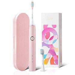 Sonische elektrische tandenborstel SOOCAS Oplaadbare whitening-tandenborstel voor volwassenen met 3 standen, slimme timer 4 uur opladen 60 dagen gebruik Inclusief reisetui en 2 opzetborstels Roze