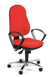 Topstar Synchro Steel II 8929G21 Bürostuhl, Schreibtischstuhl, inkl. Armlehnen, Bezugsstoff rot