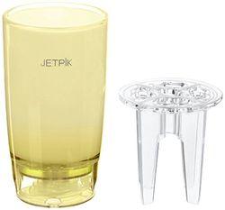 JETPIK waterbeker, kristallen afwerking, met wateraansluiting, kleine pluggen, geel.