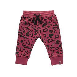 Jollein - Baby Hose Leopard Maroon Red Größe 50/56 - Bequeme Leggings aus 100% Bio-Baumwolle für Neugeborene - Sweatpants im roten Leo Look für Mädchen und Jungen (Unisex)