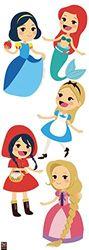 PLAGE decoratieve muurstickers prinsessen verhalen kinderen 24 x 68 cm, vinyl, kleurrijk, 68 x 0,1 x 24 cm