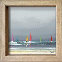 International Graphics - Postal enmarcada - Frédéric, Flanet - ''La plage II''- 16 x 16 cm - Marco disponible en 4 colores - Color del marco: Madera/Natural - Serie LUNA