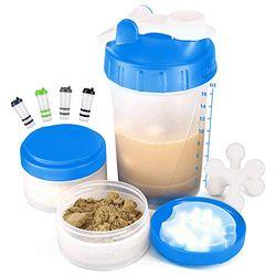 [Promotion] 16 oz Protein Shaker Flasche mit Mixer Ball und 2 ineinandergreifenden Vorratsdosen für Pillen, Snacks, Kaffee, Tee 100% BPA-frei, ungiftig und auslaufsicher Sportflasche, blender shaker bottle, blau, Large
