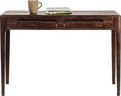 Kare laptoptafel Brooklyn Walnut, klein bureau in donkerbruin gebeitst sheeshamhout, smalle secretaire voor kantoor en werkkamer, console, tafel voor thuiskantoor, (H/B/D) 76 x 110 x 40 cm