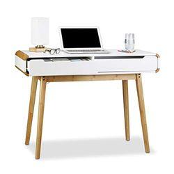 Relaxdays Escritorio con cajones, diseño nórdico, Lavabo, Escritorio de niño, Altura x Ancho x diámetro:73 x 100 x 45 cm, Color Blanco, madera