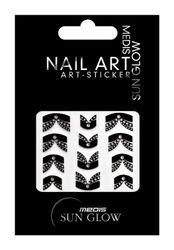 Medis Sun Glow Nagelsticker French-Style N-3120, Glamour-Motiv Schleife, Schwarz mit Silber-Strass