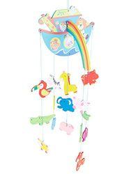 Bieco XXL Baby Mobile Ark Noah van robuust hout, veel kleurrijke dieren en bloemen, blikvanger op het babybed, kinderbed, luiertafel of speelboog. Voor baby's vanaf 0 maanden, mobiele baby