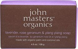 John Masters Organics lavender, roze geranium en ylang ylang zeep, 128 g