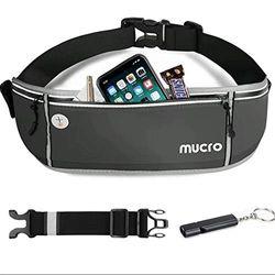 mucro Laufgürtel, großes Fassungsvermögen, Sport-/Workout-/Laufgürtel mit lauter Survival-Pfeife und verstellbarem Verlängerungsgürtel für 16,5 cm (6,5 Zoll) Android Apple iPhone Running Fanny Bag