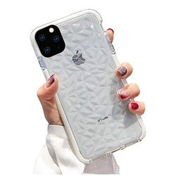 Schutzhülle für iPhone 11 Pro Max 6,5 Zoll, Lozeguyc iPhone 11 Pro Max Bling Schönheit Gummi Hülle Slim Soft Silikon Diamant Cover für iPhone 11 Pro Max 6,5 Zoll Crystal Clear Skin White