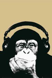 empireposter – Steez DJ Chimp – houten plaatplaat van MDF – afmetingen (cm), ca. 60x90 - houten plaatafbeelding, NIEUW - beschrijving: - Steez houten foto op MDF-plaat (houtvezelmateriaal) foto aap