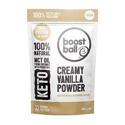Boostball Kohlenhydratarmes Proteinpulver, Vegan, Keto Proteinreich, Zuckerarmer Shake mit MCT Pulver, Cremige Vanille, 10 Portionen, 1 stück