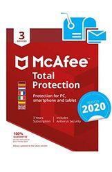 McAfee Total Protection 2020 | Europäische Ausgabe | 3 Apparaaten - 3 Jaar | PC/Mac/Smartphone/Tablet | Activeringscode per post