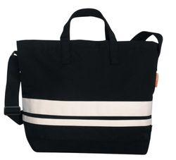 BagyMANIA Shoppingbag YB 190009 nylon, ca. 55 x 38 cm, zwart/wit.