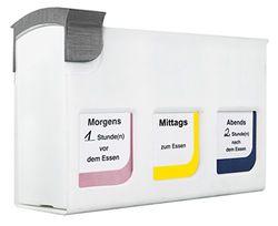 HAN Medicijndoseerder, medicijndoos met 3 tijddozen, uitbreidbaar tot 9 verschillende innametijden, wit, 7300-12