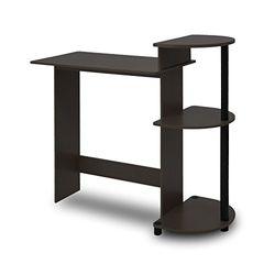 Furinno Compact Schreibtisch mit Regalen, Holz, PVC-Rohre, Espresso/Schwarz, 39.62 x 39.62 x 85.34 cm