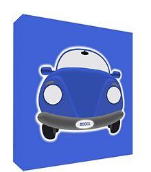 Feel Good Art canvas op frame met front solide in stijl D illustratie moderne sportwagen D tijd blauw 14,8 x 21 x 2 cm Grand