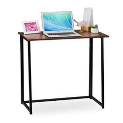 Relaxdays Escritorio Plegable, Mueble de Oficina, 74,5x80x45 cm, Marrón/Negro, Aglomerado, Hierro, 5 x 80 x 45 cm