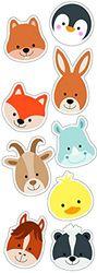 PLAGE decoratieve muurstickers kleine dierenhoofden kinderen 24 x 68 cm, vinyl, kleurrijk, 68 x 0,1 x 24 cm