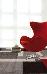 VIVA CASA RIQUADRI tapijt synthetische vezels grijs/rood 160 x 230 x 3,68 cm