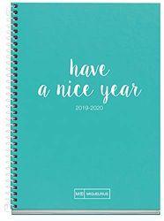Miquelrius Agenda Escolar con espiral 2019 2020 Día Página Lettering Turquesa Catalán 117x174 mm