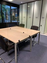 Jalema 7999848 Trennwände für Schreibtisch, transparent, mit Schraubstock für Schreibtisch, 1000 x 650 mm, Acryl, 5 mm