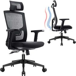 Komene Ergonomic Office Mesh Chair Adjustable High Back and Armrets Chair Computer Desk Chair with Headrest Neck and Lumbar Support for Home and Office