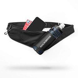 Rock Bros Laufgürtel Bauchtasche mit Wasserflaschenhalter Hüfttasche Gürtel für Damen Herren zum Wandern Reisen Camping Fit Telefone 16,5 cm