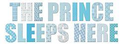 PLAGE decoratieve muursticker The Prince Sleeps here-Der Prinz slaapt hier kinderen 24 x 68 cm, vinyl, blauw, 68 x 0,1 x 24 cm