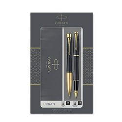 Parker Urban set de regalo doble con bolígrafo y rotulador roller, negro tenue con adorno dorado, cartucho y recambio de tinta negra, estuche de regalo