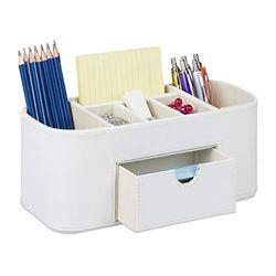 Relaxdays Organizador de escritorio de piel sintética con 7 compartimentos, 10,5 x 26 x 11,5 cm, color crema