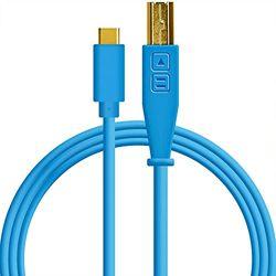 DJ TechTools 05-30125 Chroma Cable USB-C, Hoogwaardige audio-geoptimaliseerde USB-C naar USB-B kabel (volledig gevlochten afscherming met twee ferrietkernspoelen, lengte: 1,5m met klittenband), blauw