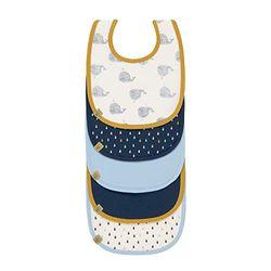 LÄSSIG Baby Lätzchen Set (5 Stk.) Klettverschluss Baumwolle wasserdicht/Value Pack Bib, Little Water