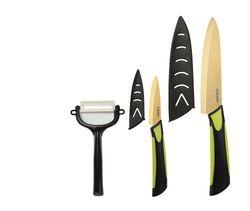 Dailycious- DC - 0035-®, 3-teilig, Keramik, Goldfarbene Klinge, Griff zweifarbig, ABS, Silikon, Schwarz/Grün, 1 Kochmesser 15 cm, 1 Gemüsemesser 7,5 cm, 1 Sparschäler mit Schutzabdeckungen