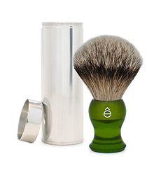 êShave Silvertip dassenhaar reizen scheerborstel, groen