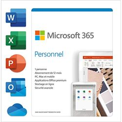 Microsoft Office 365 Personal, French, 1 user, 1 year, PC/Mac, phone, tablet, box|Microsoft Office 365 Personal|PC/Mac, smartphone, tablet|1 year|PC/Mac/Android/iOS/ChromeOS|Download