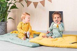 Jollein - Baby Latzhose Circus Forest Green Größe 50/56 - Trägerhose aus 100% natürlicher Bio-Baumwolle - Overall für Neugeborene - Zirkus Design in Grün für Mädchen und Jungen (Unisex)