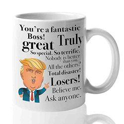 Donald Trump Kaffeetasse für Chef, Kaffeetassen, lustiges Geschenk für den besten Chef / Büro, Ladyboss / Great Leader / Head Manager / Hauptstadt / männlich / weiblich, Vatertag / Präsident / konservative Republikaner, 313 ml