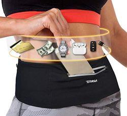 Terrania Unisex Running Gürtel Fanny Pack für iPhone X 6 7 8 Plus, Runner Workout Gürtel Taille Pack für Damen und Herren Walking Fitness Joggen Travel, Schwarz, Large/32-35