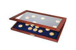 SAFE 5909 Holz Münzkasette für Münzen 35 mm | Münzkassette 35 Fächer Königsblaue Samteinlage | Für Münzen in Münzkapseln Innendurchmesser 27 - 27,5 - 28 - 29 mm | Abmessungen: 375x260x30 mm