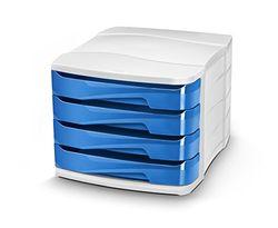 CEP Gloss - Módulo con 4 cajones, color blanco y azul