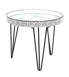 Haku meubel salontafel stalen buis zwart-wit Ø: 65 x 46 cm