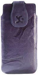 Suncase Leren tas voor de Sony Xperia P in wash-donkerpaars